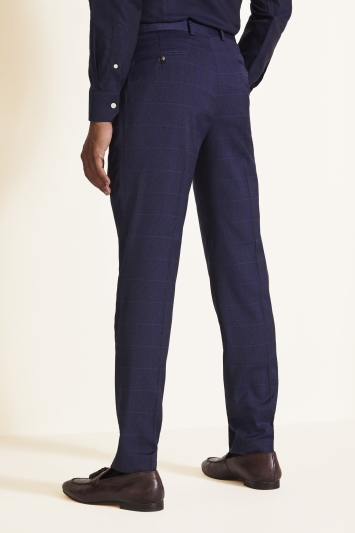 Moss 1851 Tailored Fit Relaxed Blue Check Trouser