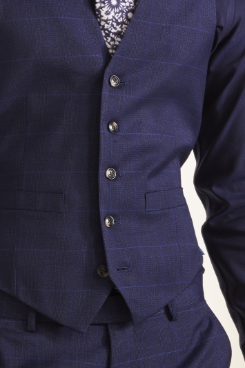 Moss 1851 Tailored Fit Relaxed Blue Check Waistcoat