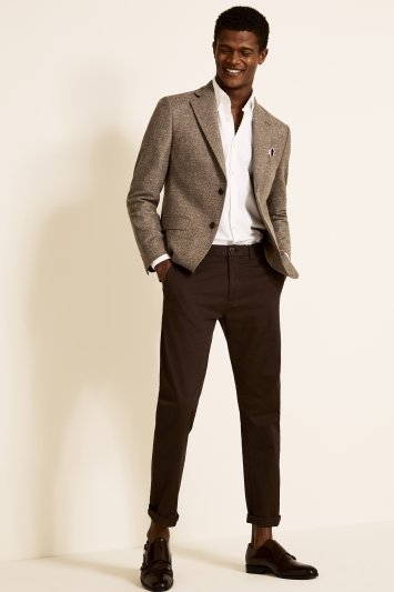 Vitale Barberis Canonico Tailored Fit Brown Textured Jacket