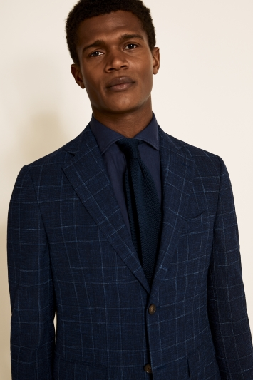 Vitale Barberis Canonico Tailored Fit Blue Check Jacket