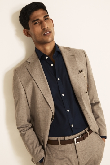 Moss 1851 Tailored Fit Stone Brushed Twill Supreme Stretch Jacket