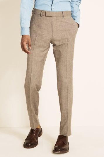 Tailored Fit Stone Brushed Twill Trousers