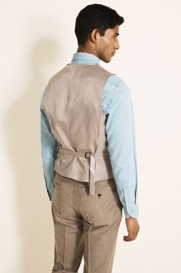 Tailored Fit Stone Brushed Twill Waistcoat