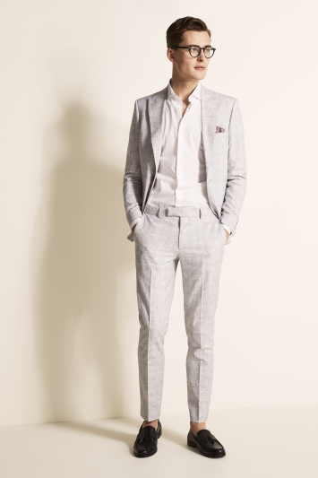 Moss London Slim Fit Light Grey Check Jacket
