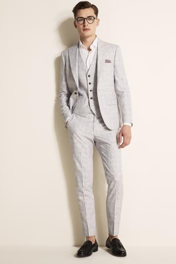 Moss London Slim Fit Light Grey Check Jacket