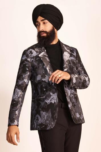 Slim Fit Black Floral Dress Jacket