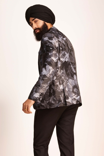 Moss London Slim Fit Black Silver Floral Dresswear Jacket