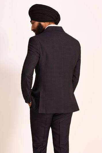 Moss London Slim Fit Ink Houndstooth Dresswear Jacket