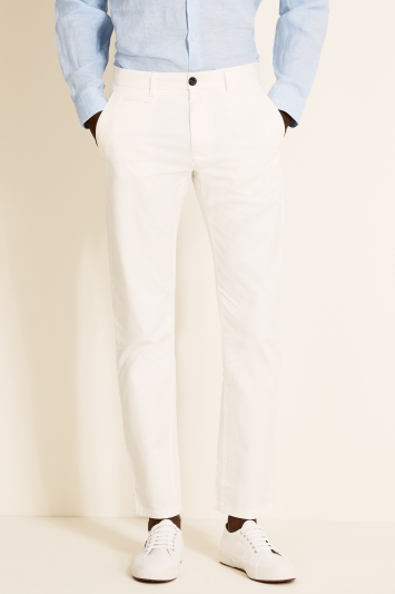 Moss 1851 Tailored Fit White Stretch Chino