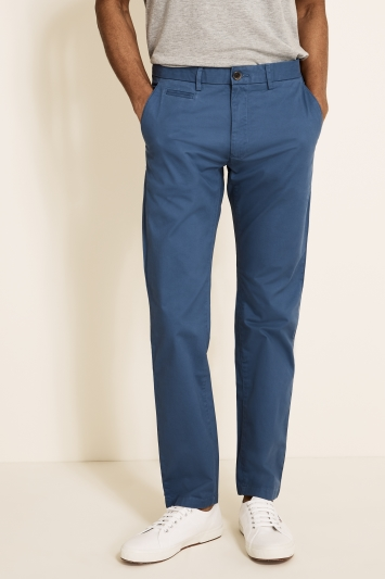 Moss 1851 Tailored Fit Cornflower Blue Stretch Chino
