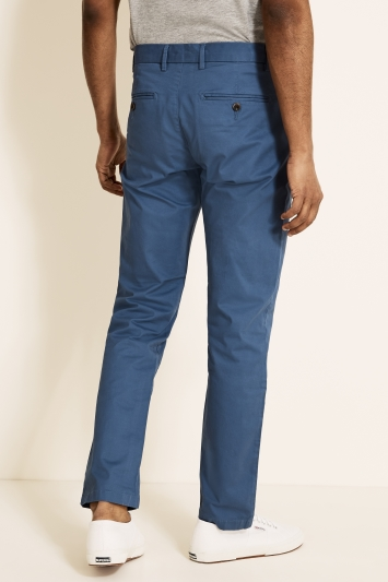 Moss 1851 Tailored Fit Cornflower Blue Stretch Chino