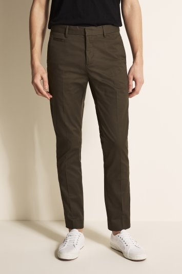 Moss London Slim Fit Khaki Stretch Chino