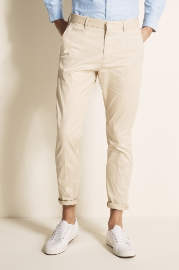 Moss London Slim Fit Stone Stretch Chino