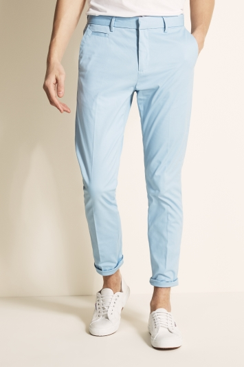 Moss London Slim Fit Pale Blue Stretch Chino