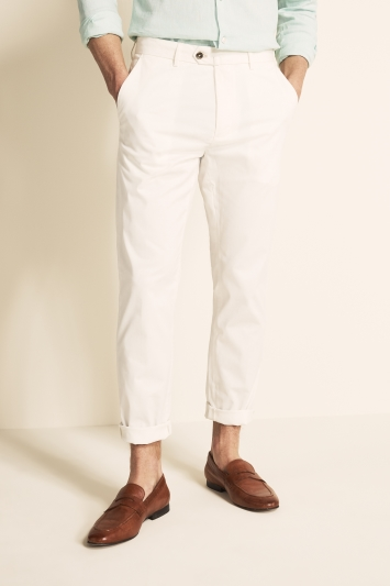 Moss 1851 Tailored Fit Eco White Light Weight Stretch Chino