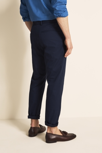 Moss 1851 Tailored Fit Eco Navy Light Weight Stretch Chino