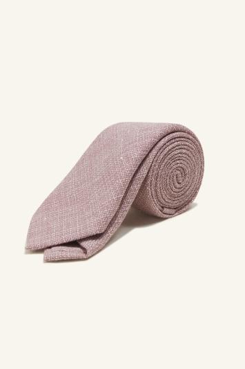 Vitale Barberis Canonico Pink Italian Wool Linen Textured Tie