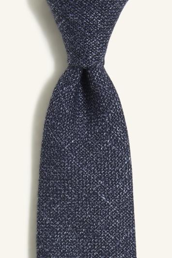 Vitale Barberis Canonico Navy Italian Wool Linen Textured Tie