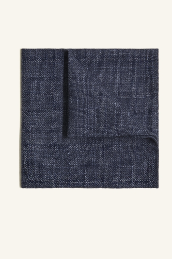 Vitale Barberis Canonico Navy Italian Wool Linen Textured Pocket Square