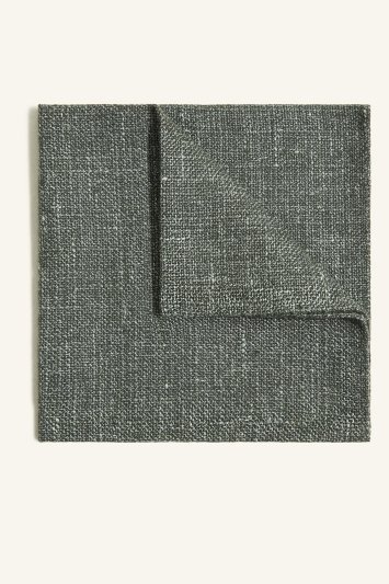 Vitale Barberis Canonico Green Italian Wool Linen Textured Pocket Square
