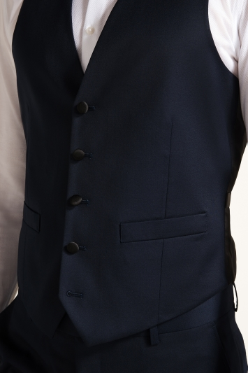 Moss 1851 Tailored Fit Navy Twill Dress Waistcoat
