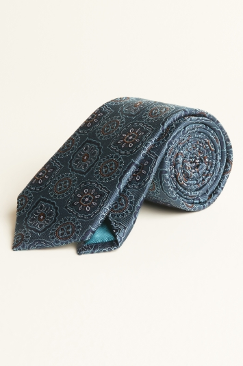 Moss 1851 Teal Large Classic Medallion Silk Tie