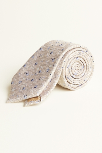 Moss 1851 Taupe with Blue & White Flower Silk & Linen Tie