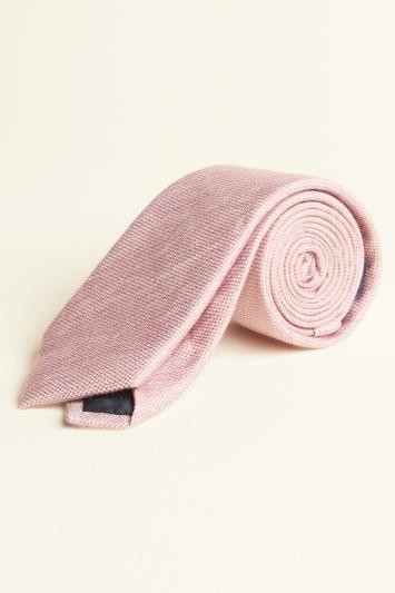 Moss 1851 Pink Semi-Plain Silk, Linen & Viscose Tie