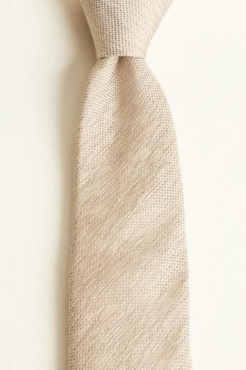 Moss 1851 Taupe Semi-Plain Silk, Linen & Viscose Tie