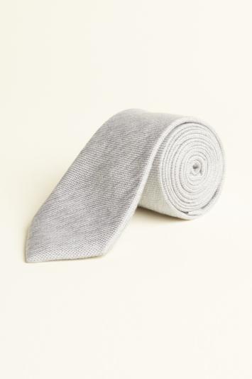 Moss 1851 Silver Semi-Plain Silk, Linen & Viscose Tie