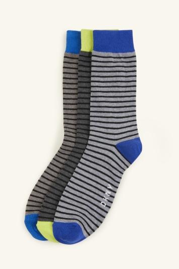 DKNY Kansas French Blue & Lime Stripe 3-Pack Socks