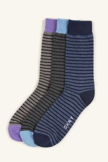 DKNY Kansas Ocean Blue & Lilac Stripe 3-Pack Socks