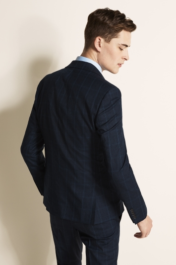 Moss London Slim Fit Blue Overcheck Jacket
