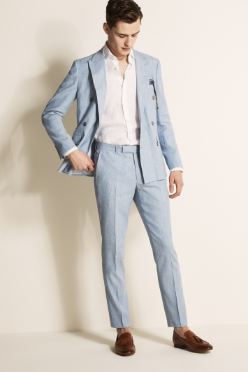 Moss London Slim Fit Light Blue Lightweight Linen Jacket