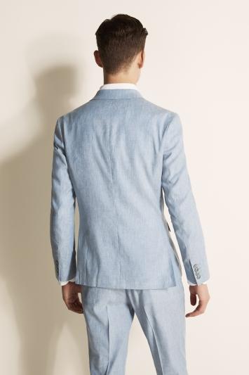 Moss London Slim Fit Light Blue Lightweight Linen Jacket