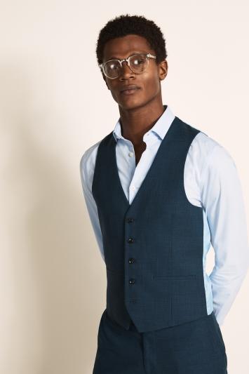 Moss London Slim Fit Dark Teal Waistcoat