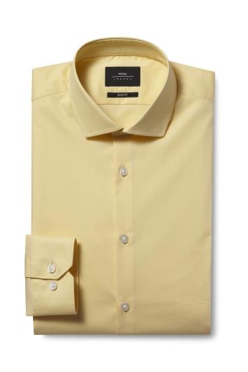 Moss London Slim Fit Yellow Single Cuff Stretch Shirt