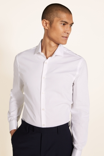 Moss London Slim Fit White Double Cuff Stretch Dobby Shirt