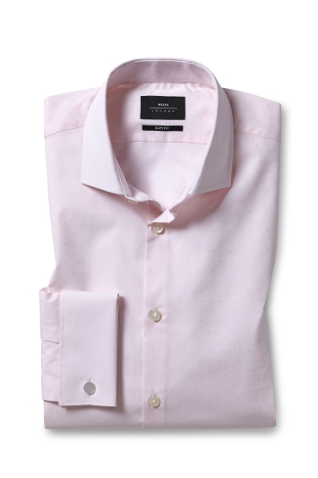 Slim Fit Pink Dobby Double Cuff Stretch Shirt