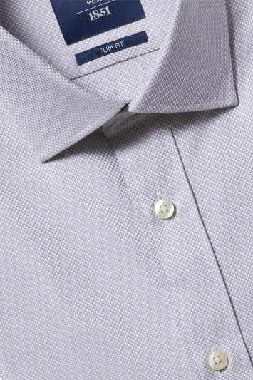 Moss 1851 Slim Fit Grey Single Cuff Egyptian Cotton Shirt