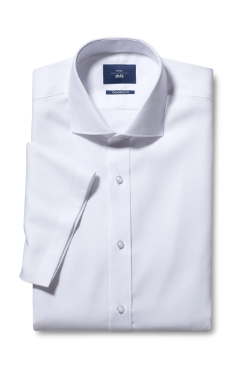 Tailored Fit White Twill Short Sleeve Non Iron Shirt