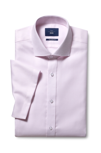 Tailored Fit Pink Twill Short Sleeve Non Iron Shirt