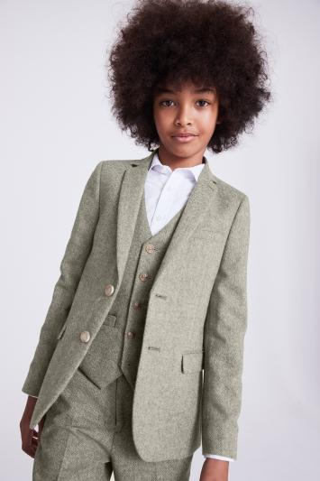 Boys Sage Herringbone Tweed Jacket
