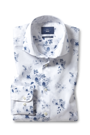 Moss 1851 Tailored Fit Blue Single Cuff Floral Print Shirt