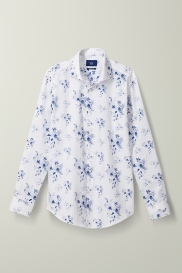 Tailored Fit Blue Floral Print Shirt
