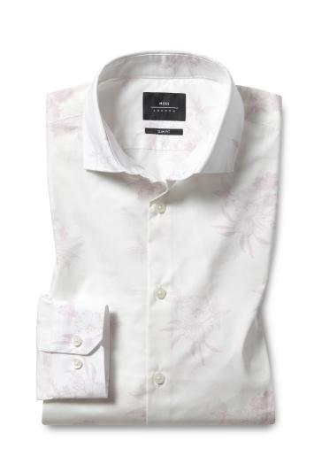 Moss London Slim Fit Pnk Single Cuff Floral Print Shirt
