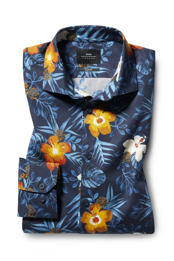 Moss London Slim Fit Navy Single Cuff Tropical Print Shirt