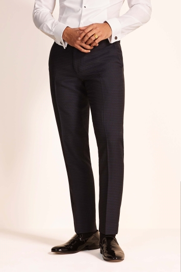 Moss London Slim Fit Ink Houndstooth Dress Trousers