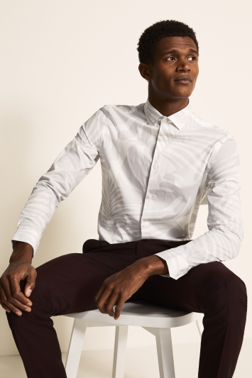 Moss London Slim Fit Grey Single Cuff Palm Print Shirt