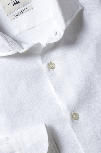 Moss 1851 Tailored Fit White Single Cuff Long Sleeve Linen Shirt